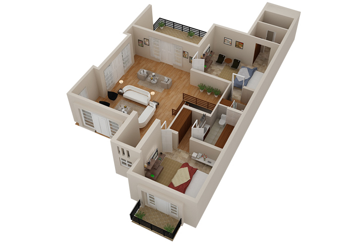 3D Floor Plan2D 3D House Floorplans Architectural Home Plans Netgains