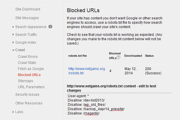 How to check Blocked URLs on your site using Google Webmasters