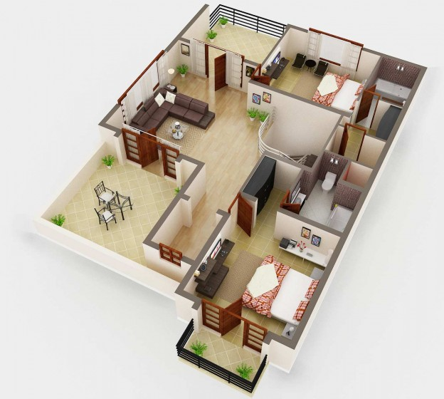 3d Floor Plan Rendering House Plan Service Company Netgains
