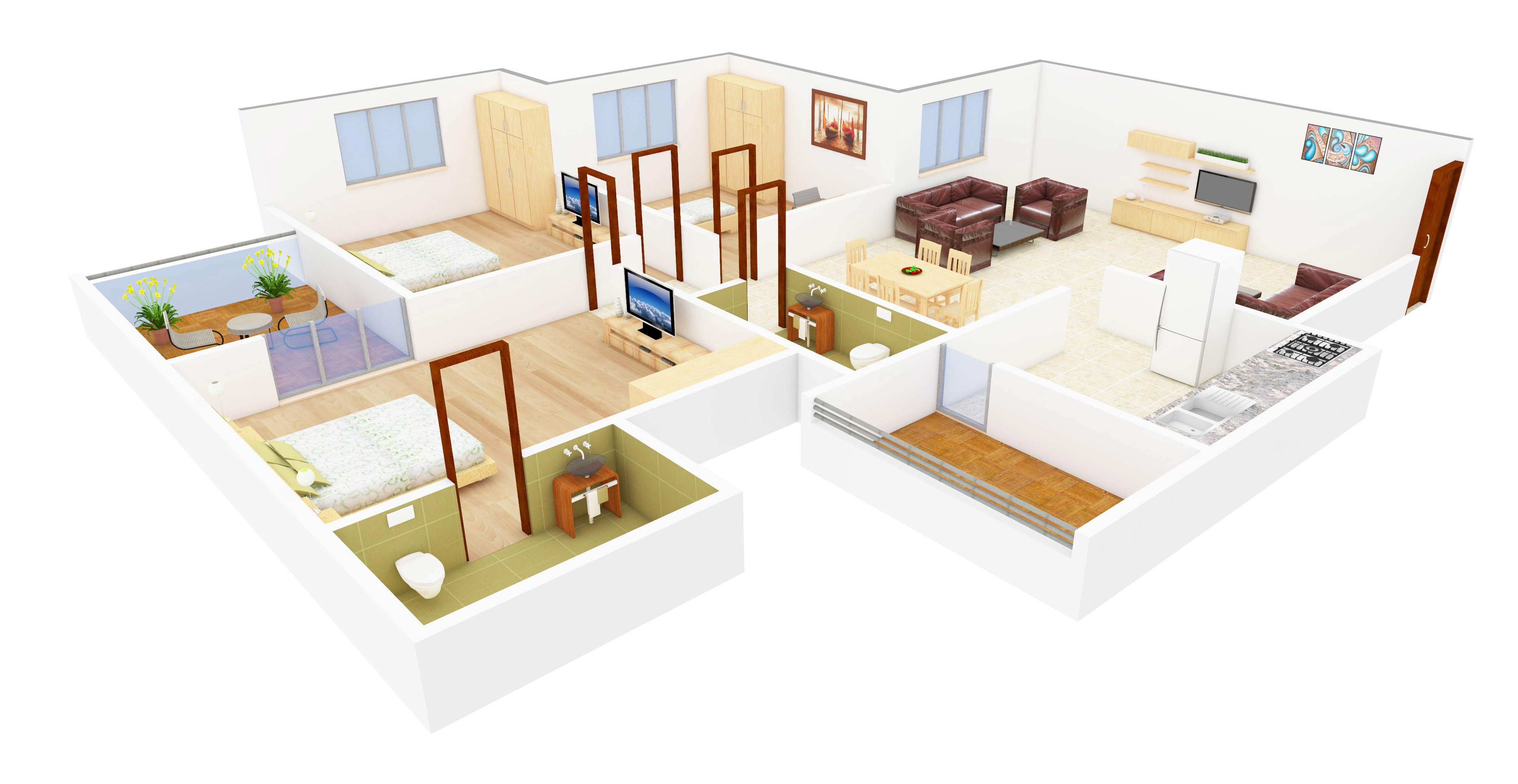 3d floor plans now foresee your dream home netgains. Black Bedroom Furniture Sets. Home Design Ideas