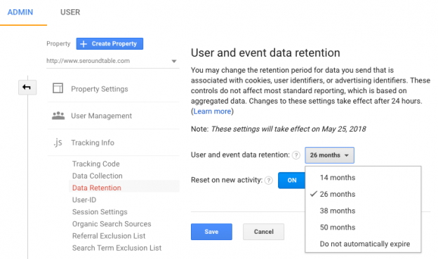 Google Analytics Data Retention Setting